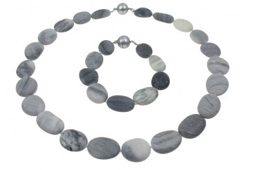 Set Collier/Armband graue Strandsteine